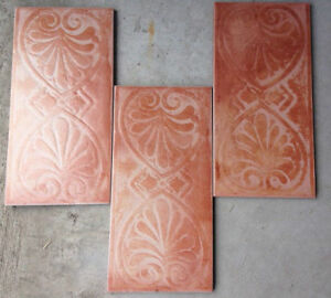 "6""x12"" Relief Carved Single Color Greek Motif Ceramic Tiles"