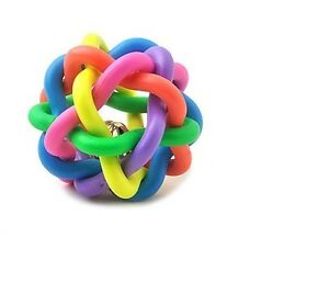 New-Rainbow-Color-Rubber-Ball-Bell-Pet-Toy-Small-Dogs-D25-USA