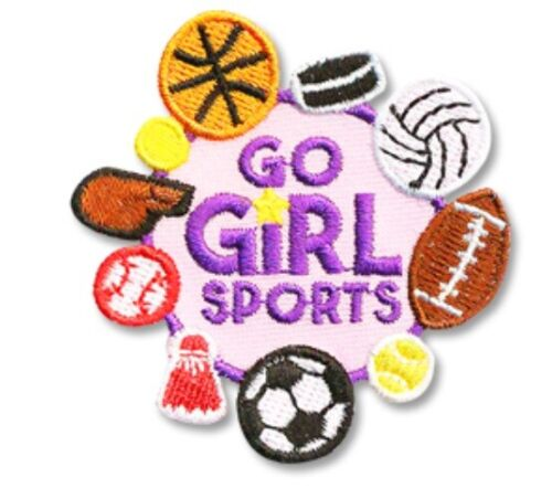 Girl Boys Cub GO GIRL SPORTS Fun Patches Crests Badge SCOUT GUIDE Soccer hockey