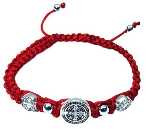 Saint St Benedict Red Medal Trinity Bracelet Pulsera Roja De San Benito