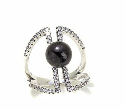 Jade of Yesteryear Charcoal jade & CZ Sterling Silver Negative Space Pave Ring 8