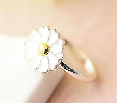 White Daisy Ring floral Flower Adjustable Ring Free Size Silver Plated Jewelry g