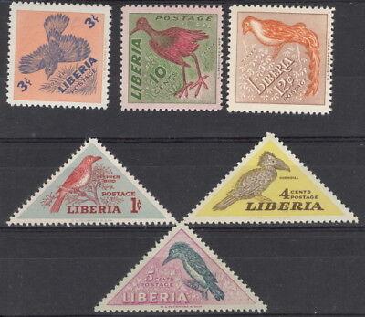 Liberia 1953 bird triangles NH #341-6 complete set