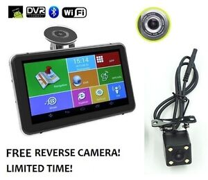 """7"""" Android GPS + HD Dash Cam + LED Backup Camera + WiFi + More!"""