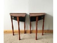 Pair of handcrafted bedside tables, upcycled from 1950s telephone table. With drawers.