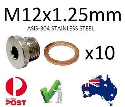 EXHAUST O2 SENSOR BUNG Plug S/Steel M12 X 1.25mm Qty 10 Suzuki Yamaha