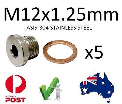 EXHAUST O2 SENSOR BUNG Plug S/Steel M12 X 1.25mm Qty 5 Suzuki Yamaha
