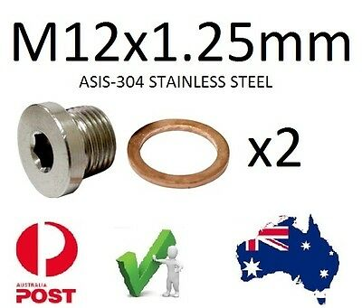 EXHAUST O2 SENSOR BUNG Plug S/Steel M12 X 1.25mm Qty 2 Suzuki Yamaha