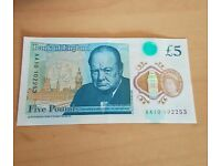 Rare AA10 £5 note
