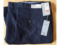 Mens m&s navy linen trousers size 46/31 £12