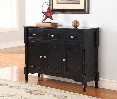 تربيزه جديد Kings Brand Black Finish Wood Console Sideboard Table With Drawers & Storage New