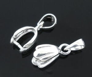 5Pcs 925 Sterling Silver Pinch Clip Bail Beads 12x6mm
