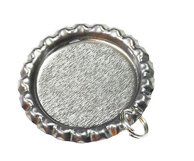 100 Flattened Bottle Cap pendants with Split Rings - flat bottlecaps for crafts