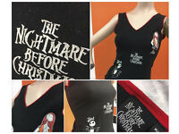 Nightmare Before Christmas Vest Top Ladies Small with Glitter Logo Jack and Sally too