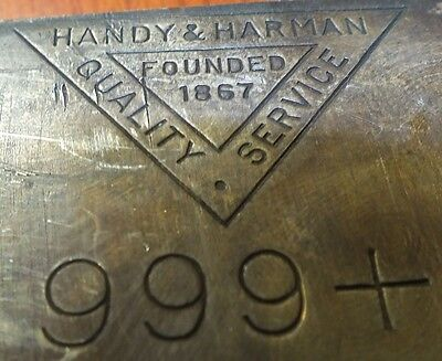 Handy   Harman  999 Fine Silver Bullion Bar   100 Oz Troy   Jg544