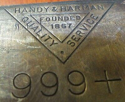 Handy   Harman  999 Fine Silver Bullion Bar   100 Oz Troy   Jg544