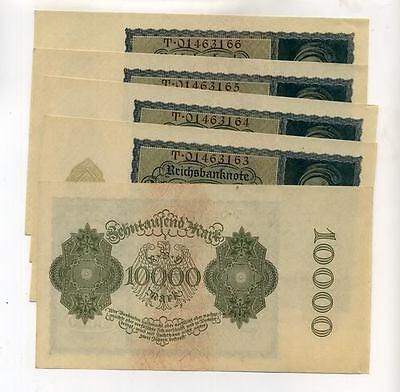 1922 GERMANY 10,000 MARK LOT OF 5 CONSECUTIVE CU