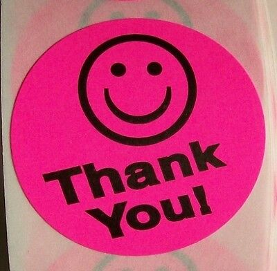 500 Pink Big Thank You Smiley Label Sticker  Best Price 1 1 2  Round