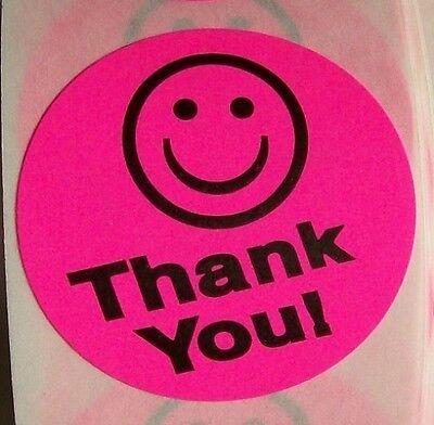 500 Pink Big Thank You Smiley Label Sticker Best Price 1 12 Round