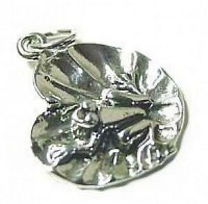 New Sterling Silver .925 lilly pad frog Jewelry Charm