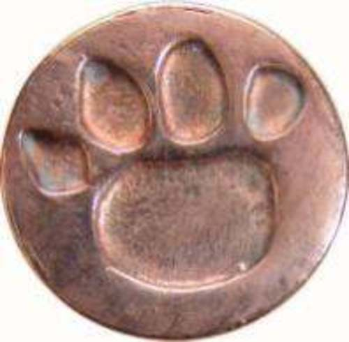 "Paw Print Wax Seal Stamp (3/4"" diameter seal, wood handle) IRREGULAR"