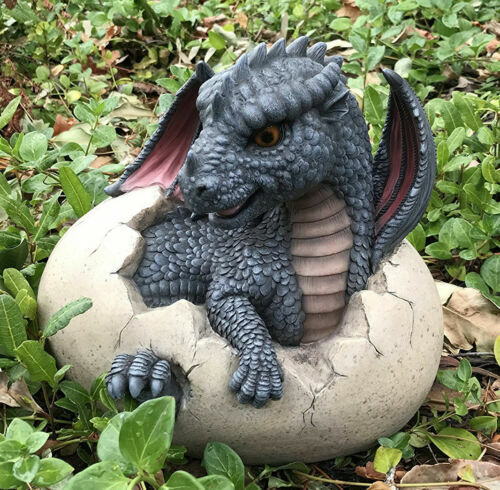 """Large Nightfury Baby Dragon Hatchling In Egg Statue 10""""Long Legends And Fantasy"""
