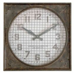 Industrial Warehouse Wall Clock Wire Grill 26 sq Gray Metal 1940s Gymansium