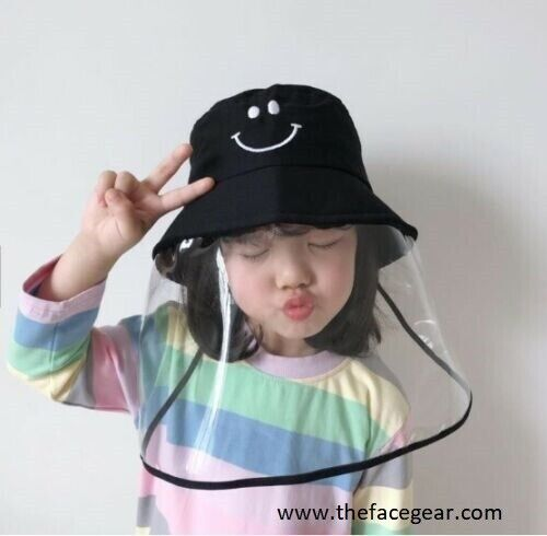 US Kids Fisherman Hat Removable Clear Shield Anti Droplets Outdoor Face shield