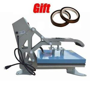 110V TH38EA 15x15 Clamshell Heat Press T-shirt Transfer High Pressure Digital Display 2rolls Tape Gift (110201)