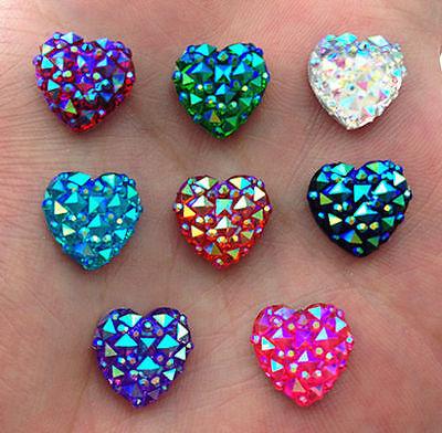 60pcs Mixed AB 12mm Flat Back HEART Resin Rhinestones Embellishment Craft Gems