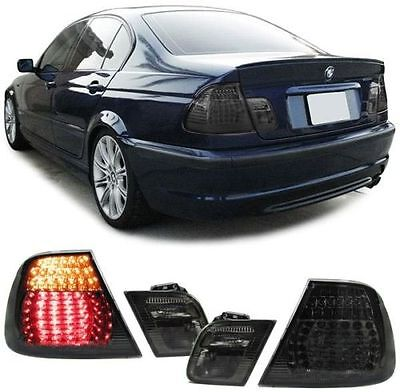 ALL SMOKED LED REAR TAIL LIGHTS LAMPS BMW E46 3 SERIES FACELIFT SALOON 2001 2005