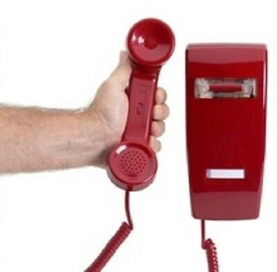 2554 STYLE AUTO DIAL HOT LINE WALL PHONE HOTEL LOBBY TELEPHONE RED (Auto Dial Phone)