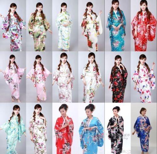 Japanese Kimono Vintage Yukata Haori Costume Retro Geisha Dress Obi Cosplay Gown