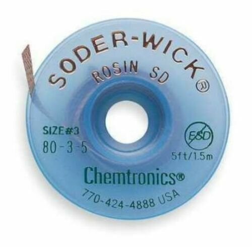 Chemtronics 80-3-5 Size #3 Soder Wick Rosin SD Desoldering Braid