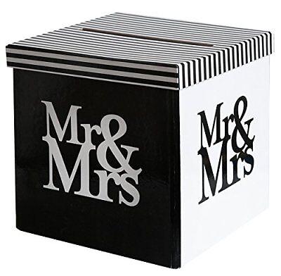 Briefbox / Kuvertbox Mr & Mrs für Karten aus Karton - Hochzeitsdeko 20x20x20cm  (Hochzeit Geschenk-boxen Für Karten)