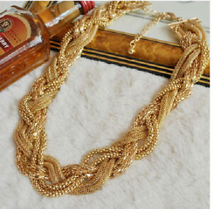 Hot New Design Charm Unisex Choker Yellow Gold Plated Braided Bib Chain Necklace