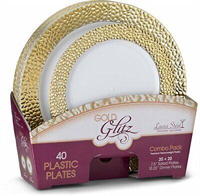 Laura Stein Designer Dinnerware Set of 32 Premium Plastic Wedding/Party Plate...