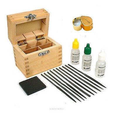10k 14k 18k Gold Acid Test Stone Files Loupe Box Kit Test...