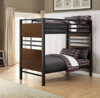 Twin Bunk Beds Metal Bed Separates into 2 Single Rustic Industrial Bedroom NEW ()