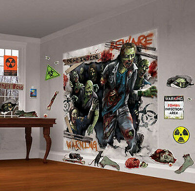ZOMBIES Scene Setter Halloween Party wall decoration kit crazy 32pc WALKING DEAD (Crazy Halloween Party)