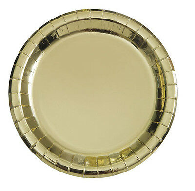 SMALL PAPER PLATES (8) ~ Birthday Wedding Party Supplies (Metallic Gold Party Supplies)