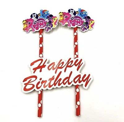 NEW My Little Pony Themed Party Happy Birthday Cake Topper