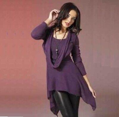 Ladies Super Soft Damson Cowl Neck Design Tunic Jumper Dress & Free Necklace New Soft Cowl Neck