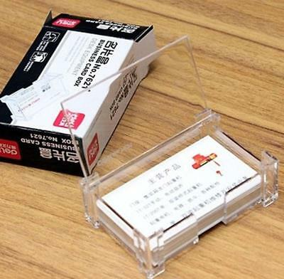 2pcs Clear Acrylic Business Card Holder Case Office Desk Storage Box Flip Cover