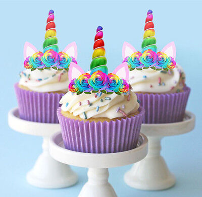 12 STAND UP LARGE UNICORN RAINBOW HORN EARS EDIBLE CUPCAKE CAKE IMAGES - Rainbow Cupcake Stand