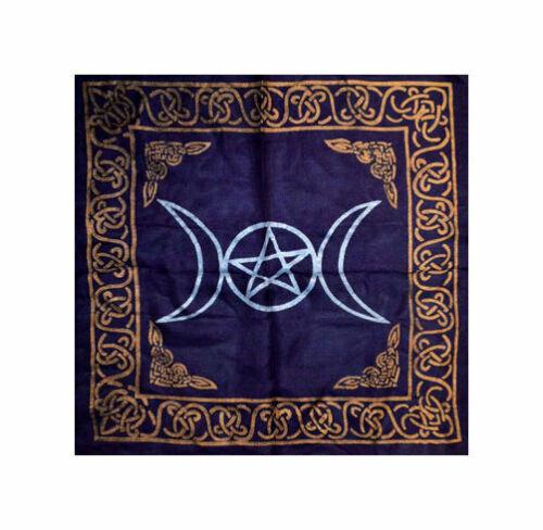 Black Triple Moon ALTAR CLOTH 18 x 18 inch Wiccan Witch Pagan Goddess