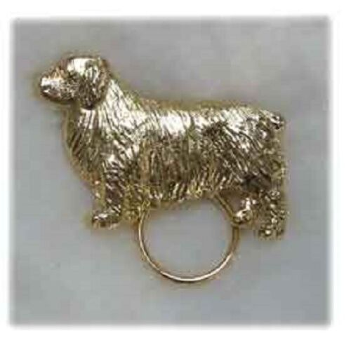 Clumber Spaniel Gold Plated Eyeglass Holder Scarf Pin Jewelry*