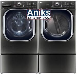 LG WM4370HKA Steam washer and DLEX4370K Steam Dryer Pair in black stainless steel. Call (416) 901 7557 or Visit Store
