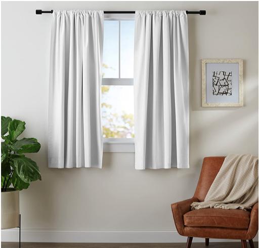 AmazonBasics Blackout Curtain Set - 52''x 63'', White, 2-pan