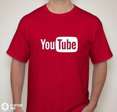 YouTube Logo T-shirt You Tube Broadcast YouTuber Red Shirts Live ALL SIZES NEW (Logo Tube)